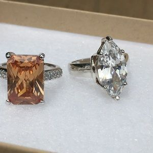 Jewelry - 2 Sterling 925 Stamped CZ Rings - HI QUALITY!